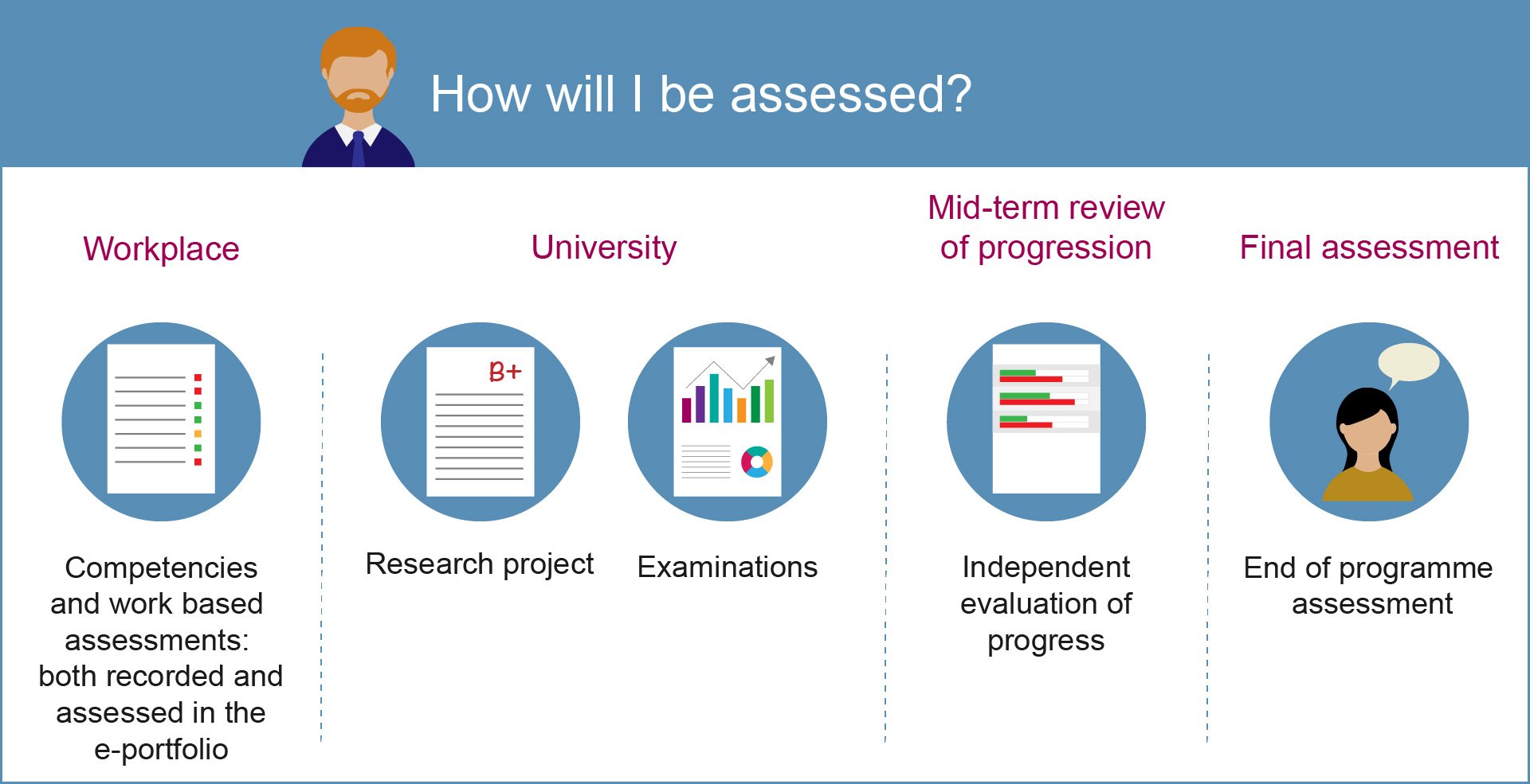 Image showing how you will be assessed on the STP