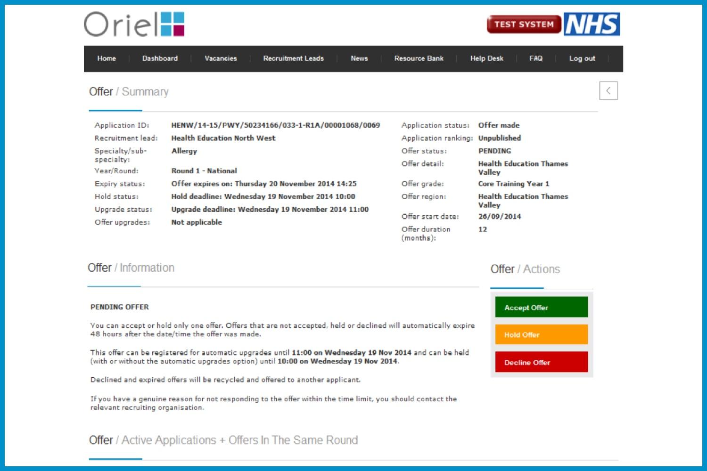 Screenshot of the Oriel offer summary screen