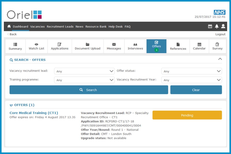 Screenshot of the Oriel offers screen