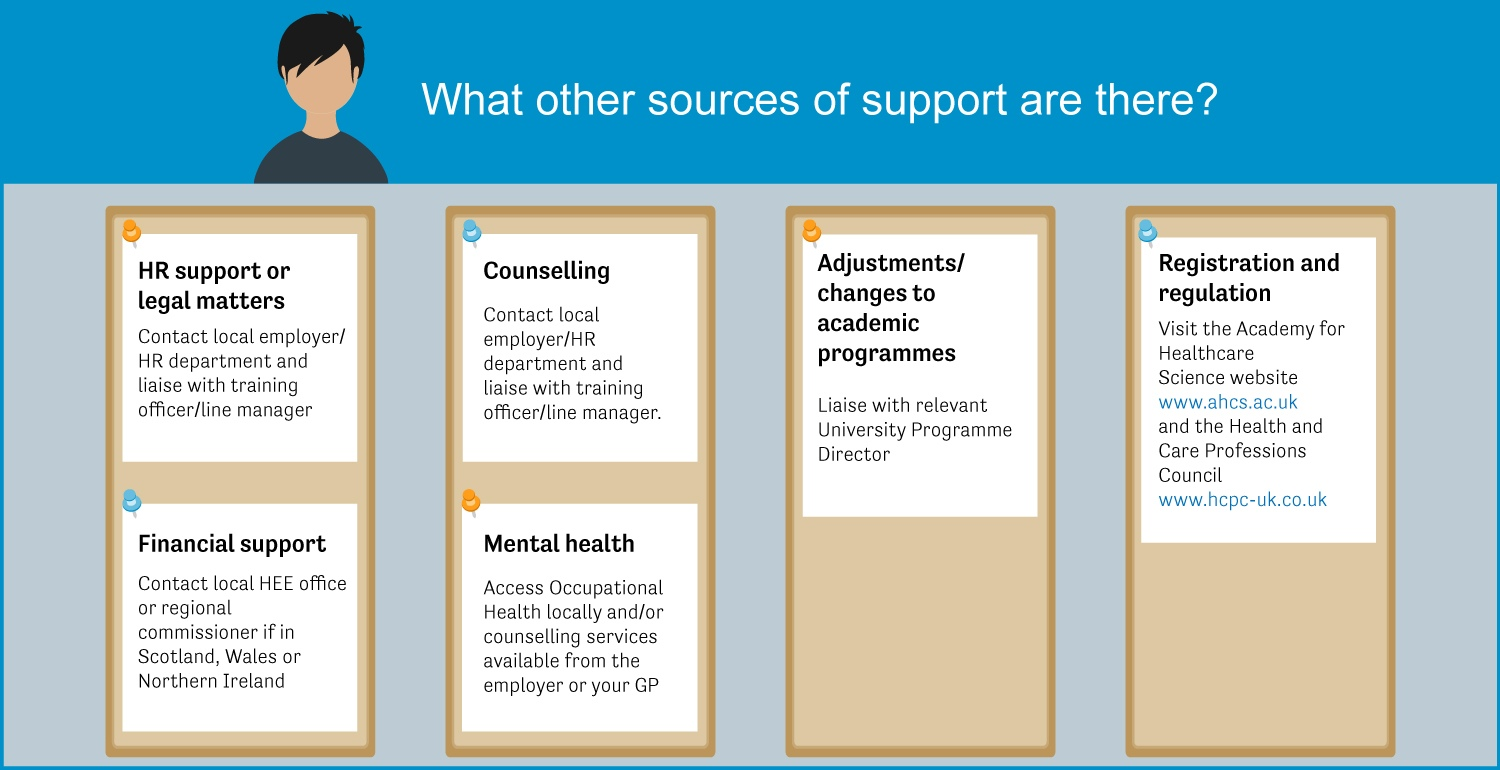Graphic explaining what sources of support are available outside the NSHCS