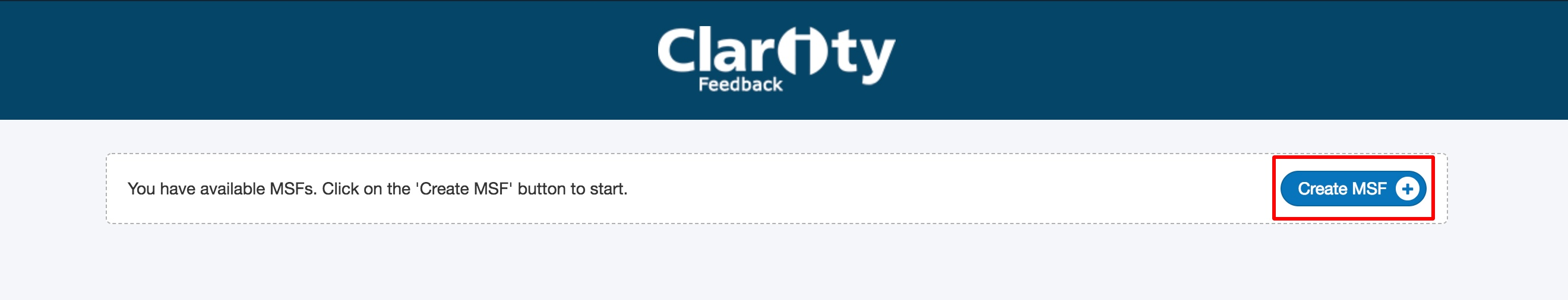 Screenshot showing the create MSF feature in Clarity