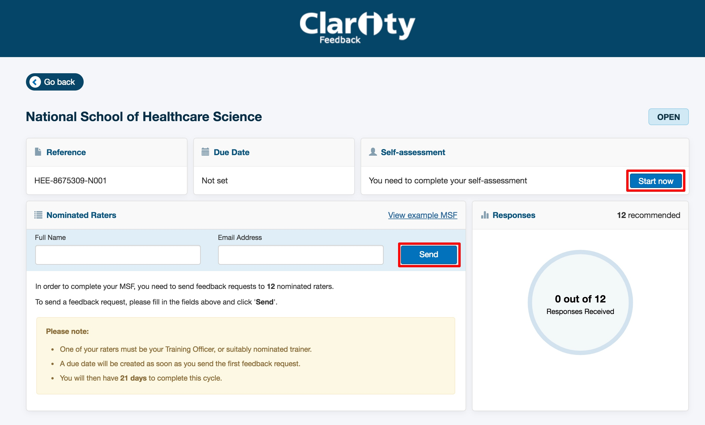 Screenshot showing the nominated raters feature in Clarity