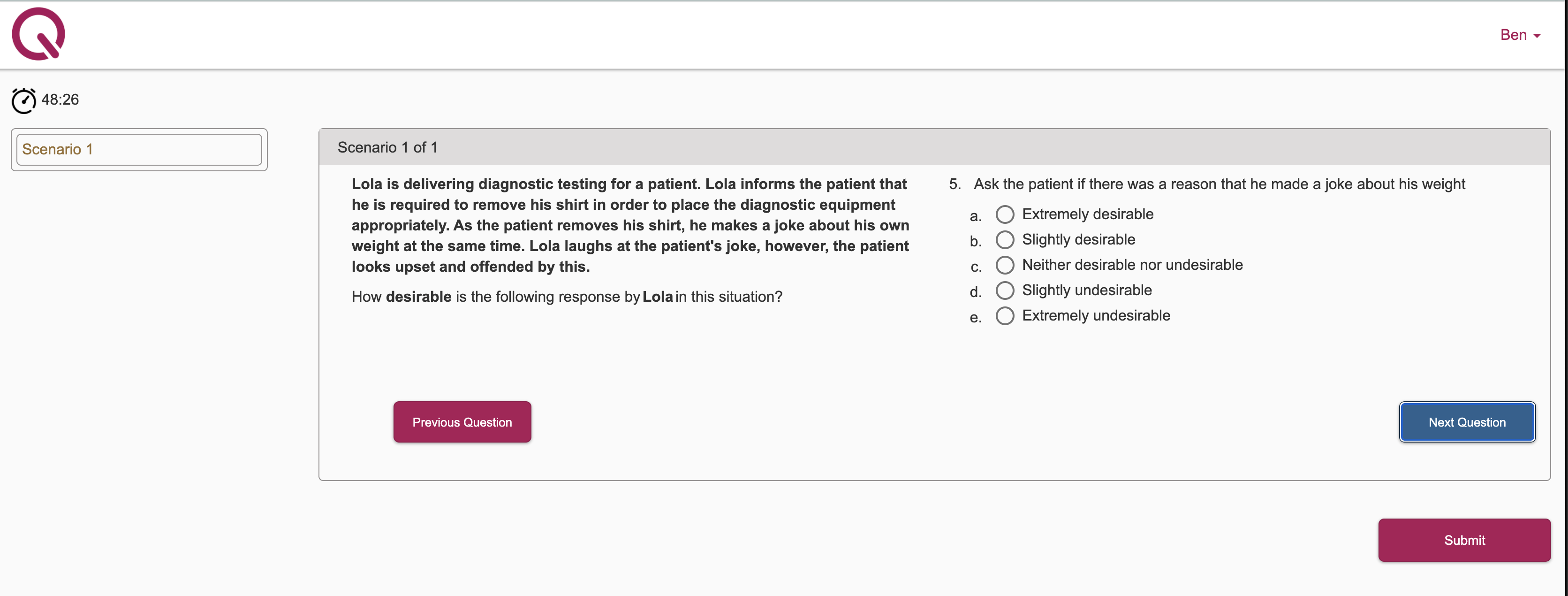 STP Situational Judgement Tests - Example question 5
