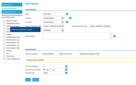 Selenity add hotel expenses screen