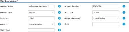 Selenity add new bank account screen