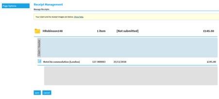 Selenity receipt management screen