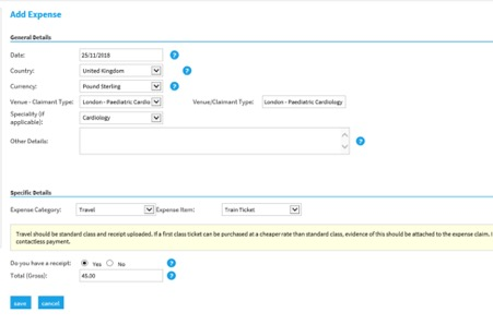 Selenity add expense screen - train example