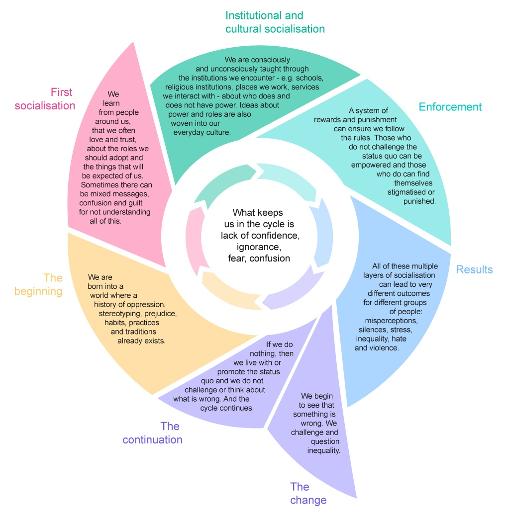 Graphic showing the cycle of socialisation