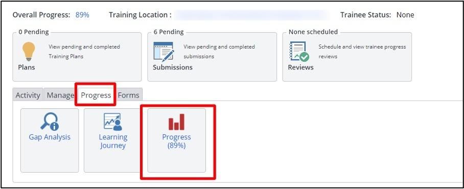 OneFile overall progress screen